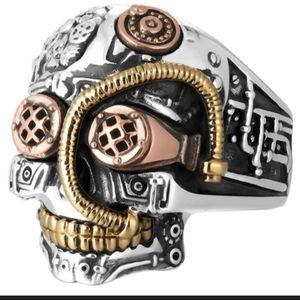 2XHP!! NWT Heavy Punk Robot Cyborg Gears Ring 8!